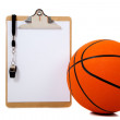 Stock Photo: Basketball and clipboard on white