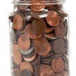 Stock Photo: Glass jar full of coins