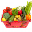 Shopping Basket oveflowing with fresh Vegetables — Stock Photo