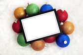 Chrismas Notecard or message with baubles — Stock Photo