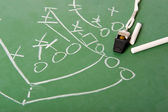 Fooball play Diagram on Chalkboard — Stock Photo