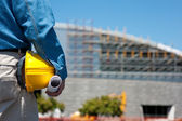 Construction Worker or Foreman at construction site — Stock Photo