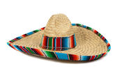 Straw Mexican Sombrero on white background — Stock Photo