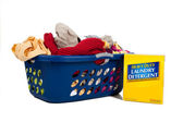Overflowing laundry Basket with detergent - Household Chores — Stock Photo