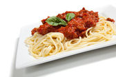 Plate of Spaghetti with meat sauce — Stock Photo