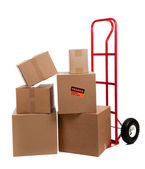 Moving boxes with fragile stickers — Stock Photo
