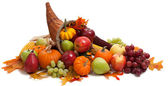 Fall cornucopia on a White back ground — Stock Photo
