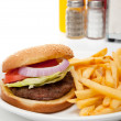 Hamburger and french fries diner set-up — Stock Photo