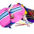 Backpack with school supplies on a white background — Stock Photo
