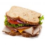 Turkey sandwich on white background — Stock Photo #13440715