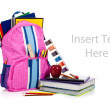 Pink backpack with school supplies with copy space — Stock Photo