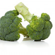 Two broccoli florets on white — Stock Photo