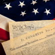 American historic documents on a flag - Stock Photo