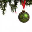 A green glittery Christmas ball on white — Stock Photo