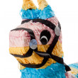 Pink, blue and yellow burro pinata on white -  