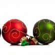 A group of colorful Christmas Baubles on White — Stock Photo