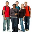 Multi-racial college students on white — Stock Photo #13444444