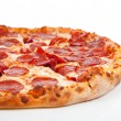 Stock Photo: Pepperoni pizzon white background