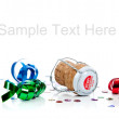Champagne cork with streamers on white background with copy spac — Stock Photo
