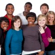 Multi-racial college students on white — Stock Photo #13449352
