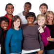 Stock Photo: Multi-racial college students on white