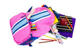Backpack with school supplies on a white background — Стоковое фото