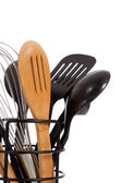 An array of kitchen utensils on white — Stock Photo