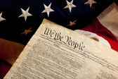 Declaration of independence and american flag — Stock Photo