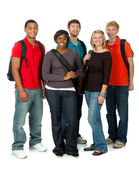 Multi-racial college students on white — Stock Photo