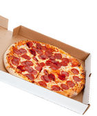 Pepperoni pizza in box on a white background — Stock Photo