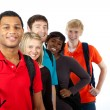 Multi-racial college students on white - Stock Photo