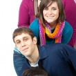 Stock Photo: Multi-racial college students on white background