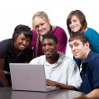 Multi-racial college students sitting around a computer - Stock Photo