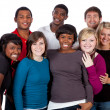 Photo: Multi-racial college students on white