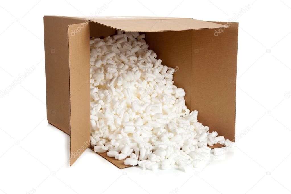 A brown, corrugated cardboard moving box with styrofoam packing peanuts on a white background  Stock Photo #13456456