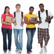 Stock Photo: Group of multicultural college students, friends