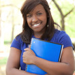 A pretty female African-American college or university student — Stock Photo