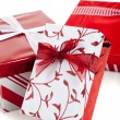 Red and white wrapped Christmas presents — Stok fotoğraf
