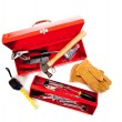 Red metal tool box with tools on white — Stock Photo