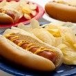 Several hotdogs on colored plates — Stock Photo #13625662