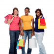 Group of Young Ladies with Shopping bags on white — Stock Photo