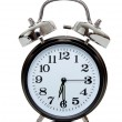 Black alarm clock on white — Stock Photo