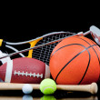 ������, ������: Assorted sports equipment on black