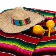 Stock Photo: Serape, sombrero and maracas on white background
