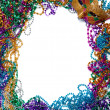 Border made of mardi gras bead and mask on white — Photo