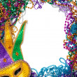 Stock Photo: Border made of mardi gras bead and mask on white