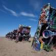 The famous Cadillac Ranch, Amarillo Texas - Foto Stock