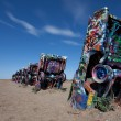 The famous Cadillac Ranch, Amarillo Texas - Stock Photo