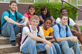 A group of multicultural college students, friends — Stock Photo
