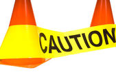 Caution tape with orange warning cones on a white background — Stock Photo